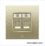 ABB 开关插座 由艺香槟金二位电话插座RJ11 AU32244-PGPG